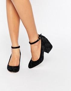 Вельветовые туфли на каблуках ASOS SWEET - Черный