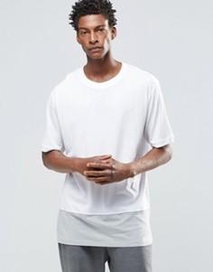 Oversize-футболка с круглым вырезом и контрастной вставкой ADPT - Белый