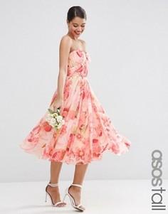 Сетчатое платье‑трансформер миди с цветочным принтом ASOS TALL WEDDING - Мульти