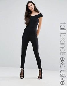 Комбинезон со спущенными плечами и перекрестом спереди Missguided Tall Exclusive - Черный