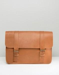 Изготовленный в Англии светло-коричневый кожаный портфель ASOS - Рыжий