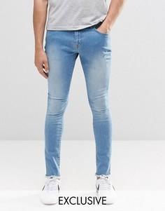 Суперзауженные джинсы с необработанными краями Brooklyn Supply Co - Синий