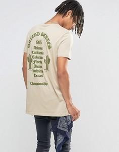 Длинная бежевая футболка с фактурным принтом ASOS - Бежевый