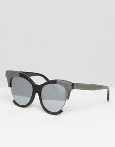 Солнцезащитные очки кошачий глаз в оправе ручной работы Vow London - Серебряный