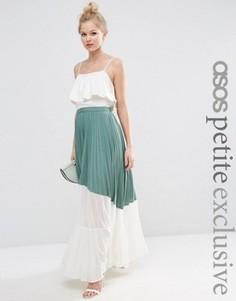 Плиссированная юбка макси с прозрачной вставкой ASOS PETITE - Зеленый