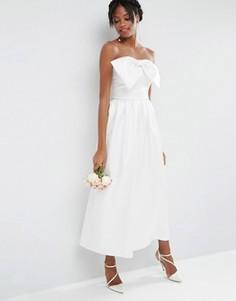 Свадебный комбинезон из плотного атласа с бантом ASOS - Белый