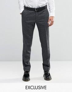 Супероблегающие строгие брюки из ткани в елочку Noak - Серый