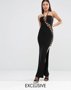 Платье макси с решеткой из лямок Club L Sexy Dare - Черный