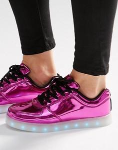 Ярко-розовые кроссовки с подсветкой на подошве Wize & Ope - Розовый