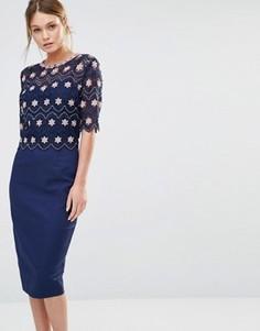 Платье миди с кружевным верхним слоем Paper Dolls - Темно-синий