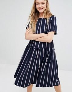 Свободное платье с заниженной талией в полоску I Love Friday - Темно-синий