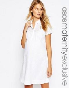 Белое хлопоковое платье-рубашка для беременных с вышивкой ASOS Maternity - Белый