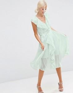 Платье миди в полоску с рюшами и молнией спереди ASOS - Зеленый
