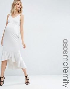 Платье миди для беременных с рюшами по краю ASOS Maternity - Серый