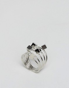 Кольцо в стиле катушки с кубиками ASOS - Серебряный
