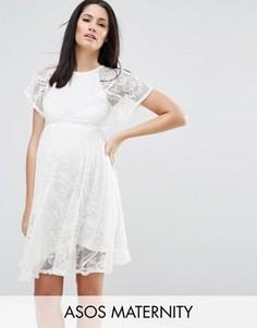 Кружевное приталенное платье для беременных с рукавами-бабочка ASOS Maternity - Кремовый