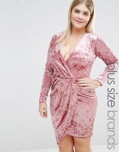 Вельветовое платье мини с запахом Club L Plus - Розовый