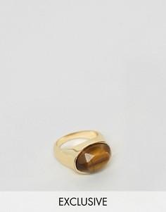 Золотистое кольцо с камнем тигровый глаз Designb - Золотой