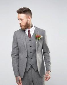 Серый твидовый пиджак узкого кроя ASOS WEDDING - Серый