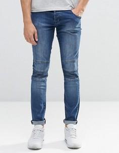 Байкерские джинсы скинни из стираного денима с молнией Loyalty & Faith - Синий