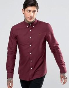 Бордовая оксфордская рубашка слим Farah Brewer - Красный