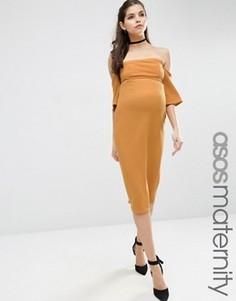 Фактурное облегающее платье миди с расклешенными рукавами ASOS Maternity - Желтый