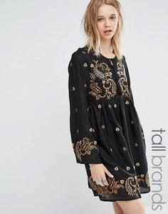 Приталенное платье с длинными рукавами и вышивкой Glamorous Tall - Черный