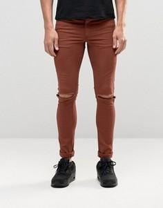Супероблегающие джинсы с дырками на коленях ASOS - Коричневый