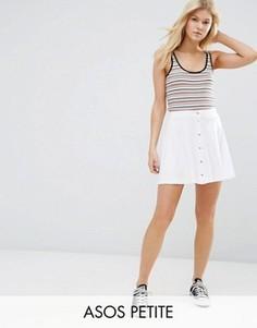 Расклешенная мини-юбка на кнопках ASOS PETITE - Белый