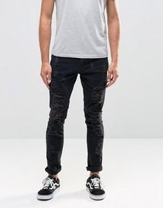 Выбеленные зауженные джинсы Hoxton Denim - Черный
