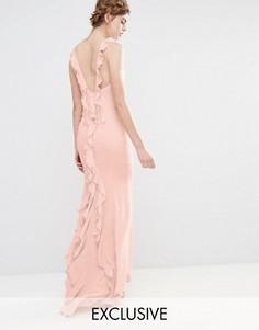 Платье макси с асимметричным краем и оборками сзади Jarlo Wedding - Розовый