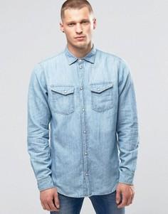Джинсовая рубашка с эффектом поношенности Pepe Hammond Z31 - Синий