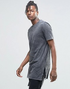 Супердлинная футболка с завязками по бокам и эффектом кислотной стирки ASOS - Серый