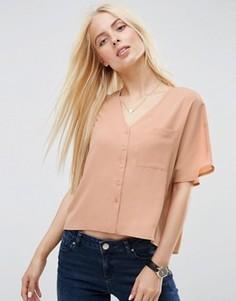 Укороченная блузка с V‑образным вырезом ASOS - Бежевый