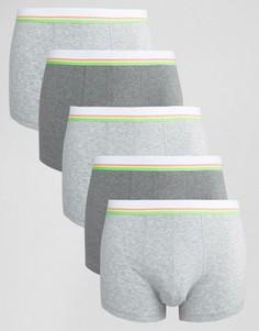 5 боксеров-брифов с неоновыми полосками на поясе ASOS - СКИДКА 28 - Серый