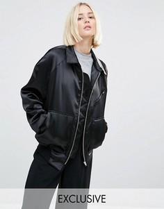 Атласная куртка‑пилот в стиле 90‑х House Of Sunny Luxury - Черный