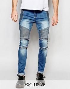 Узкие байкерские джинсы из синего стираного денима Liquor & Poker - Синий