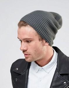 Свободная серая шапка-бини ASOS - Серый