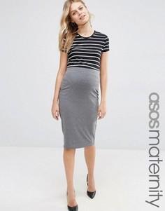 Трикотажная юбка-карандаш миди для беременных ASOS Maternity - Серый