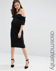 Фактурное облегающее платье миди с расклешенными рукавами ASOS Maternity - Черный