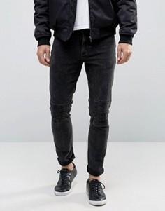 Черные джинсы скинни с прорехами и декоративной строчкой ASOS - Черный