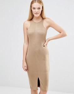 Платье-миди из искусственной замши с разрезом спереди AX Paris - Коричневый