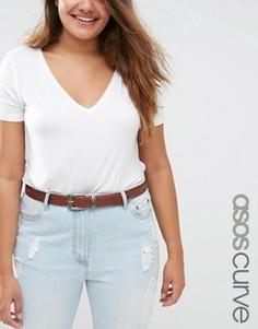 Ремень для джинсов с треугольной отделкой ASOS CURVE - Коричневый