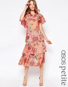 Пастельное платье миди с кейпом и цветочным принтом ASOS PETITE - Мульти