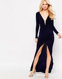 Платье макси со стразами на планке и разрезом спереди Sistaglam Ruthie - Черный