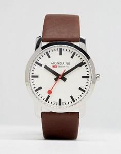 Часы с коричневым кожаным ремешком Mondaine 41 мм - Коричневый