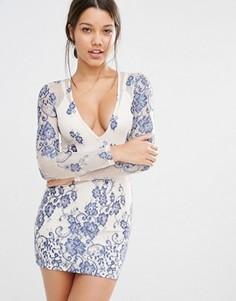 Облегающее платье с глубоким вырезом и длинными рукавами Missguided - Синий