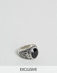 Черное кольцо с камнем Reclaimed Vintage - Серебряный