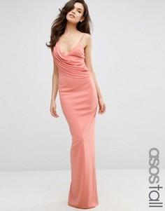 Креповое платье на одно плечо с драпировкой спереди ASOS TALL - Розовый