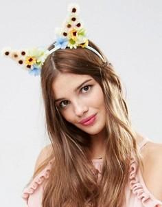 Повязка на голову с цветами и лисьими ушками ASOS - Мульти